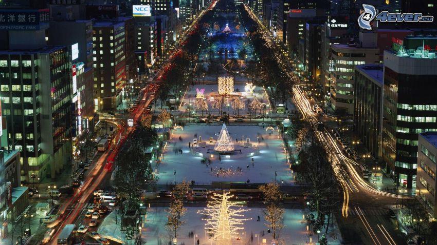 Odori Park, Sapporo, ciudad de noche, calle