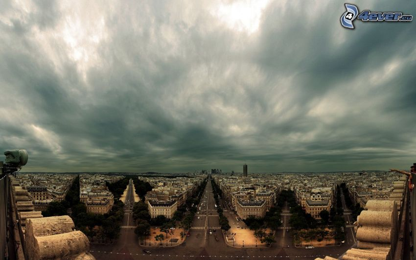 París, calles, Arco de Triunfo, nubes