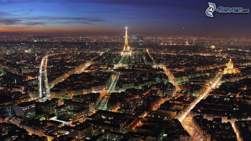 París, La torre Eiffel de noche, ciudad de noche, L'Hôtel national des Invalides