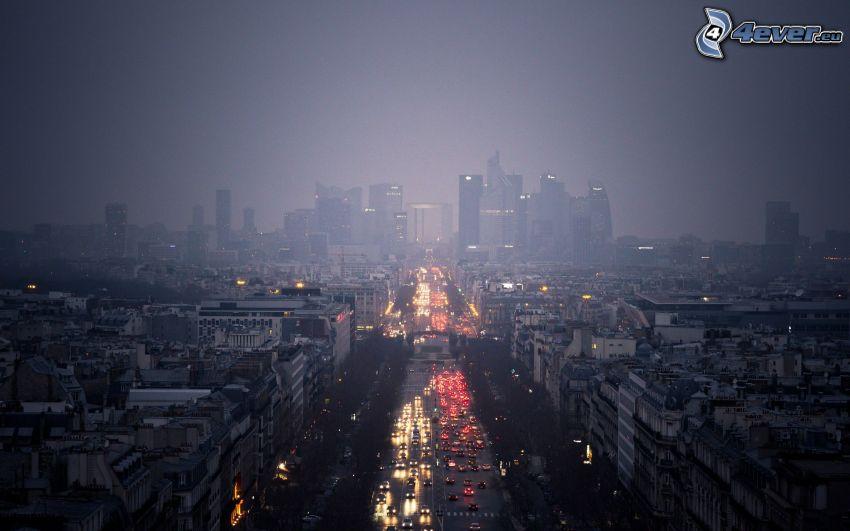 París, rascacielos, ciudad de noche