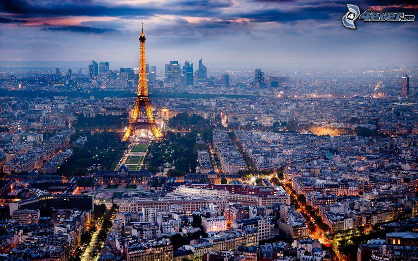 París, Torre Eiffel, ciudad de noche