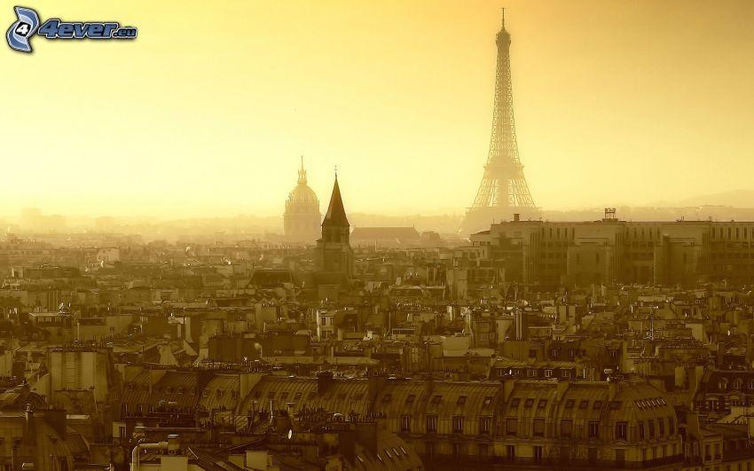 París, Torre Eiffel, L'Hôtel national des Invalides, salida del sol