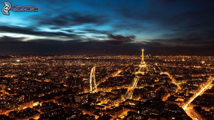 París, vistas a la ciudad, ciudad de noche, Torre Eiffel