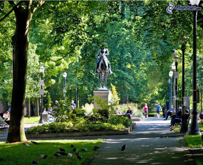 parque, estatua, Portland