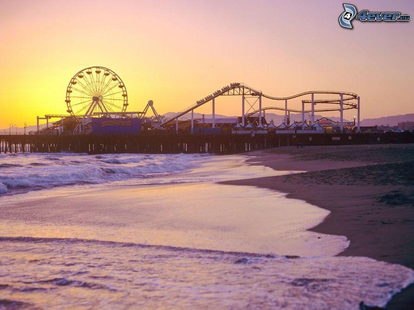 parque de atracciones, rueda de la fortuna, playa de arena, mar, Santa Monica
