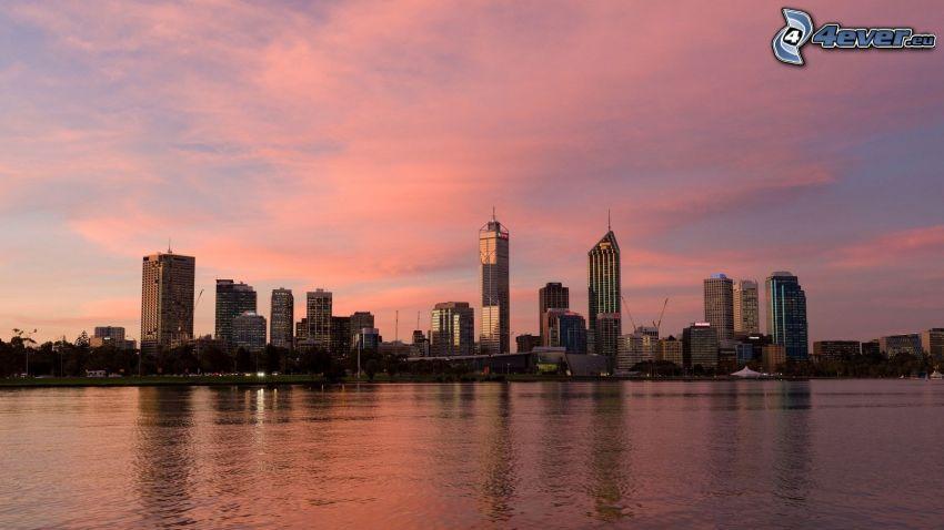 Perth, rascacielos, cielo anaranjado