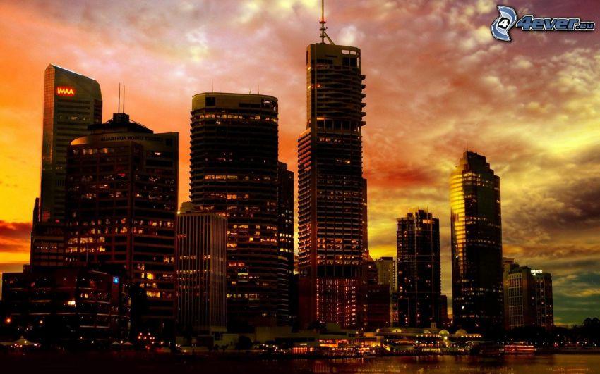 Perth, rascacielos, Ciudad al atardecer