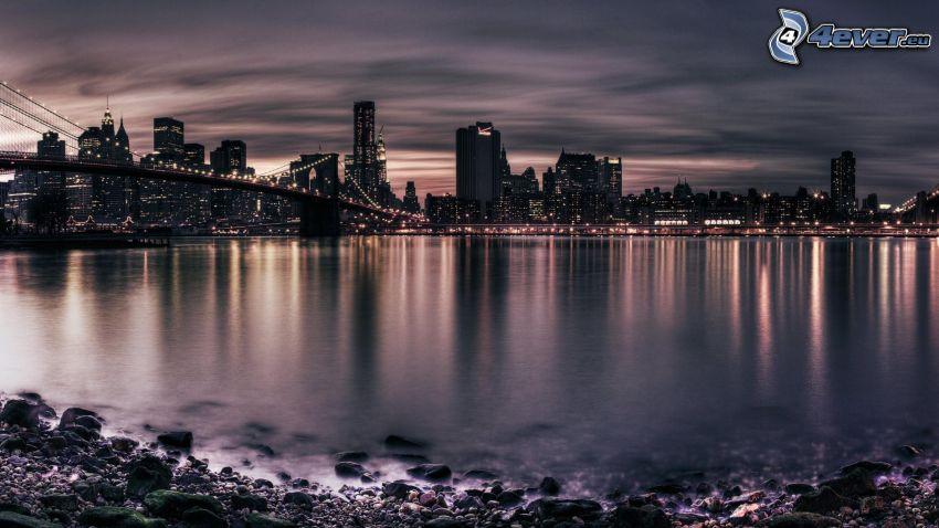 Perth, rascacielos, ciudad de noche, mar
