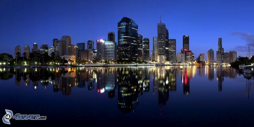 Perth, rascacielos, ciudad de noche