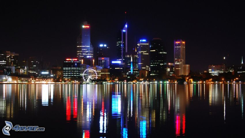 Perth, rascacielos, rueda de la fortuna, ciudad de noche