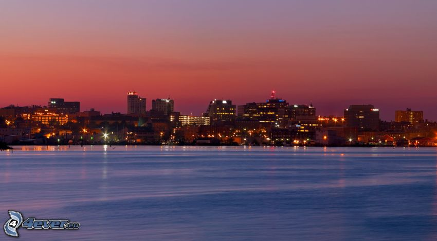 Portland, ciudad costera, Ciudad al atardecer, cielo de color rosa