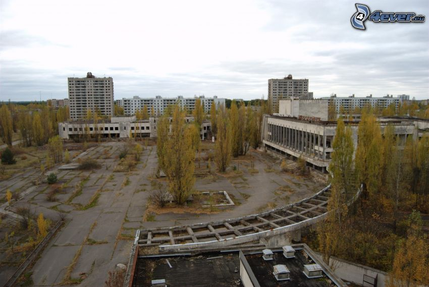 Prípiat, bloque de pisos, plaza, árboles