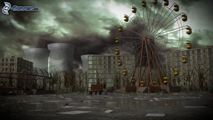 Prípiat, rueda de la fortuna, planta de energía nuclear, dibujos animados