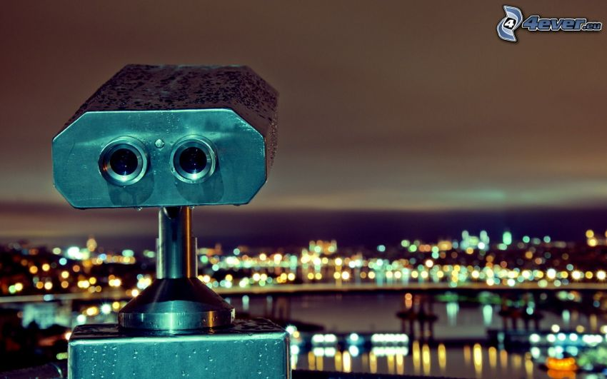 prismáticos, ciudad de noche