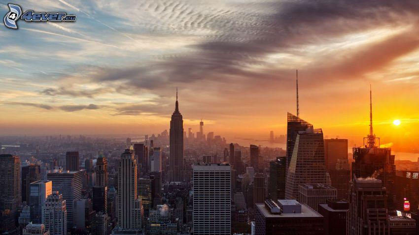 puesta de sol sobre la ciudad, Manhattan, Ciudad al atardecer, Empire State Building