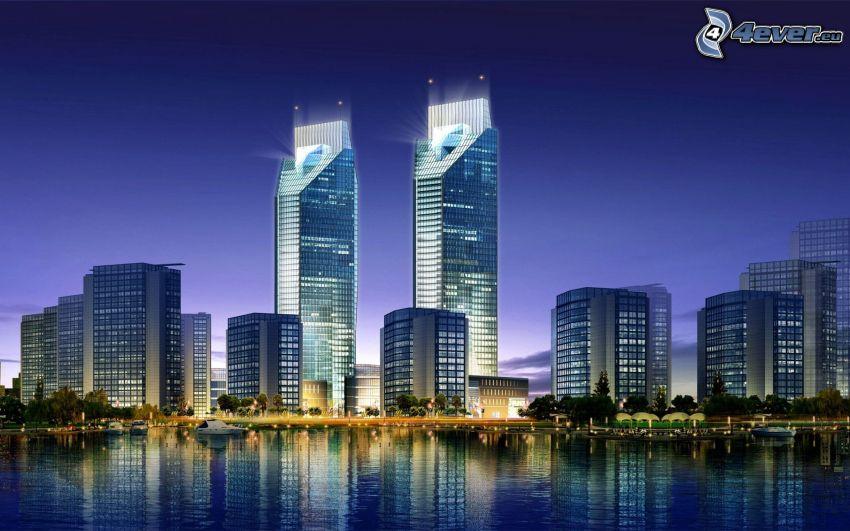 rascacielos, ciudad de noche