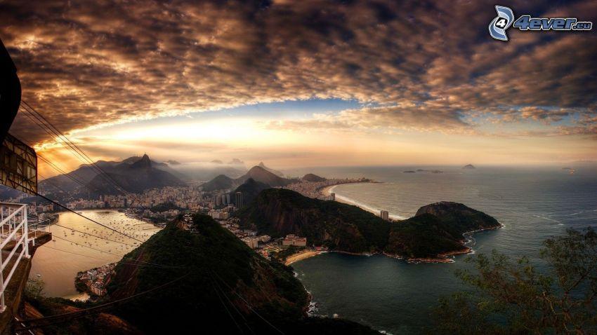 Rio De Janeiro, nubes, mar, vista, HDR