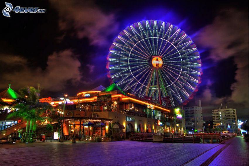 rueda de la fortuna, ciudad de noche