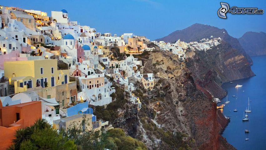 Santorini, Grecia, ciudad costera, acantilados costeros