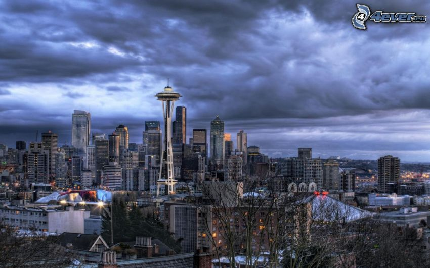 Seattle, Space Needle, nubes, HDR