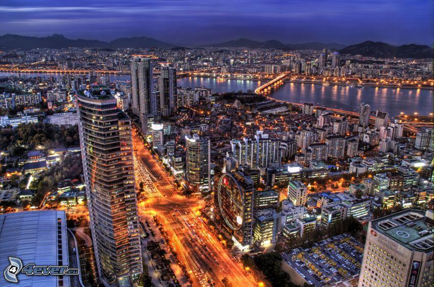 Seúl, ciudad de noche, calle, HDR