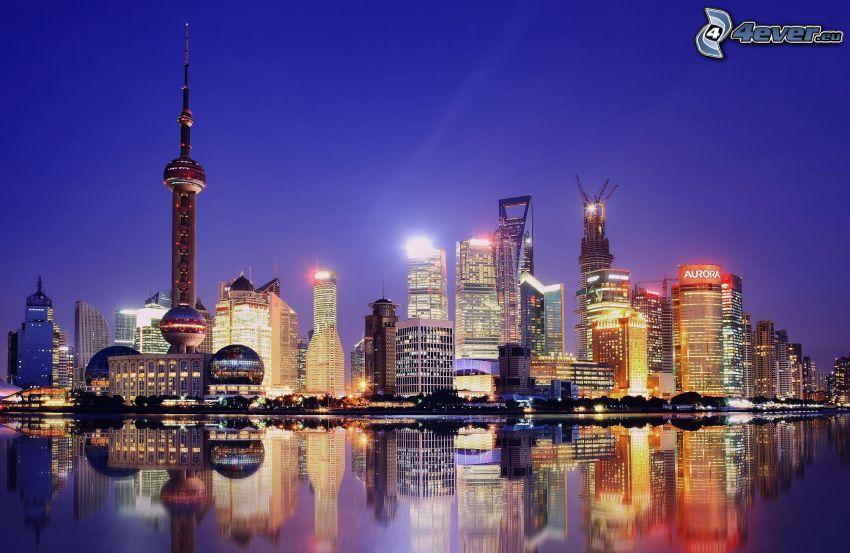 Shanghái, rascacielos, ciudad de noche