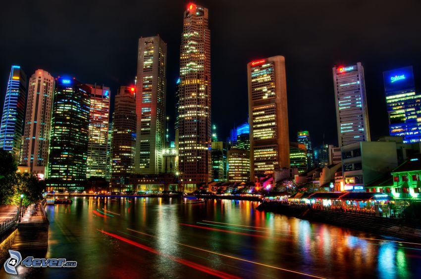 Singapur, ciudad de noche, rascacielos
