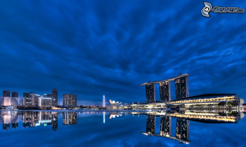 Singapur, Marina Bay Sands, Ciudad al atardecer, agua, reflejo