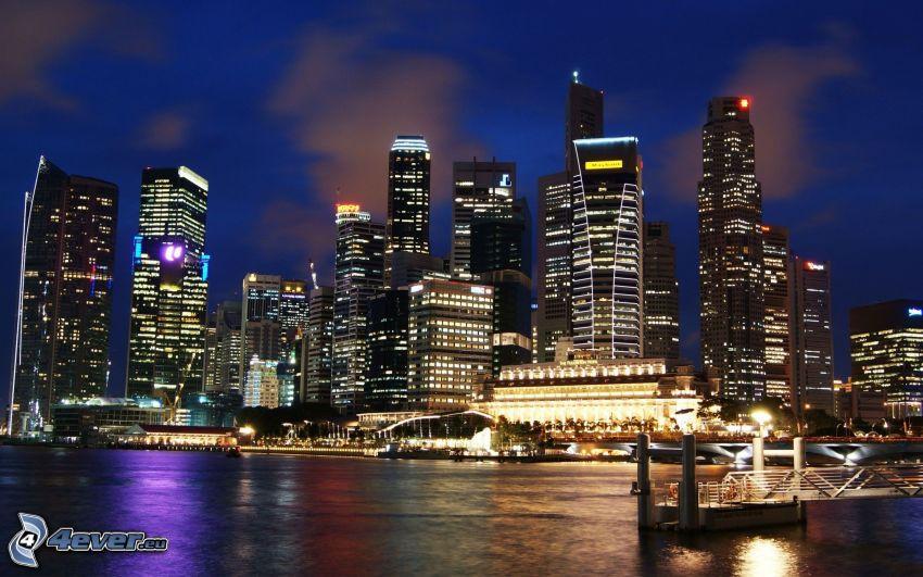 Singapur, rascacielos, ciudad de noche