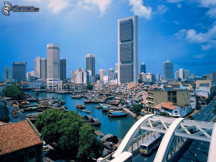 Singapur, rascacielos, naves