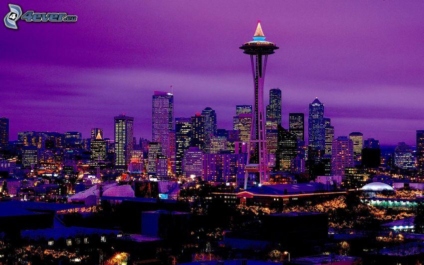 Space Needle, Seattle, ciudad de noche