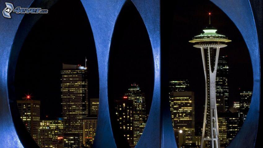 Space Needle, Seattle, rascacielos, ciudad de noche