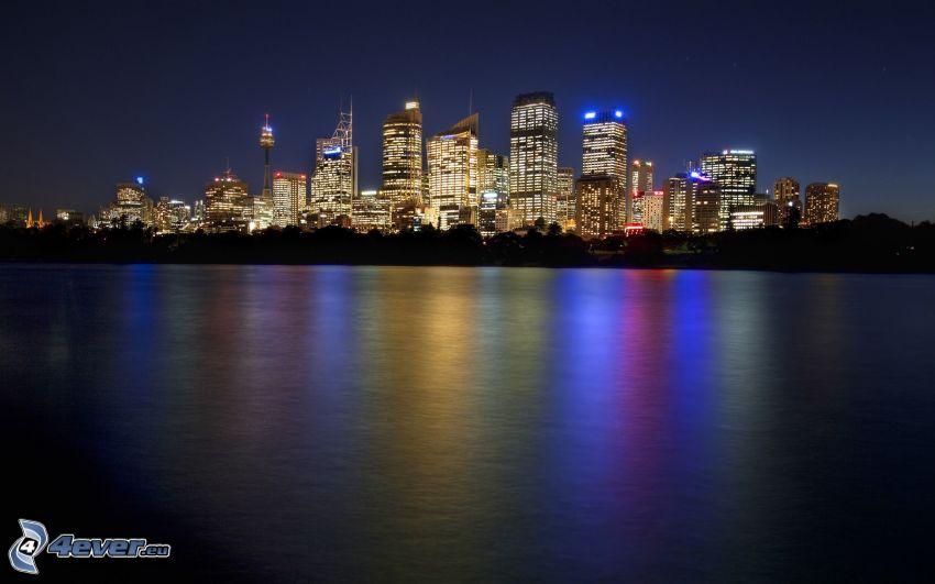 Sydney, rascacielos, ciudad de noche