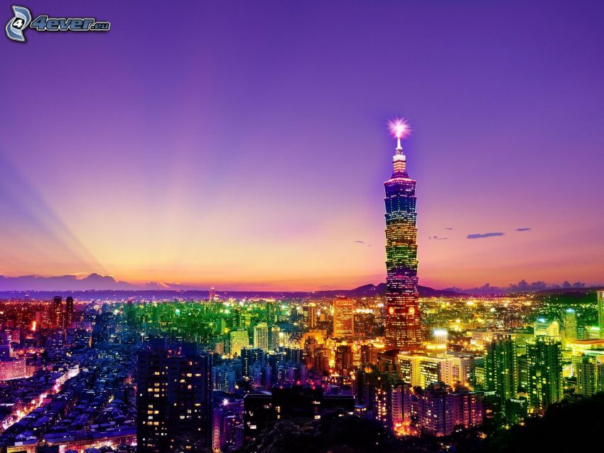 Taipei 101, Taipéi, ciudad de noche, cielo púrpura