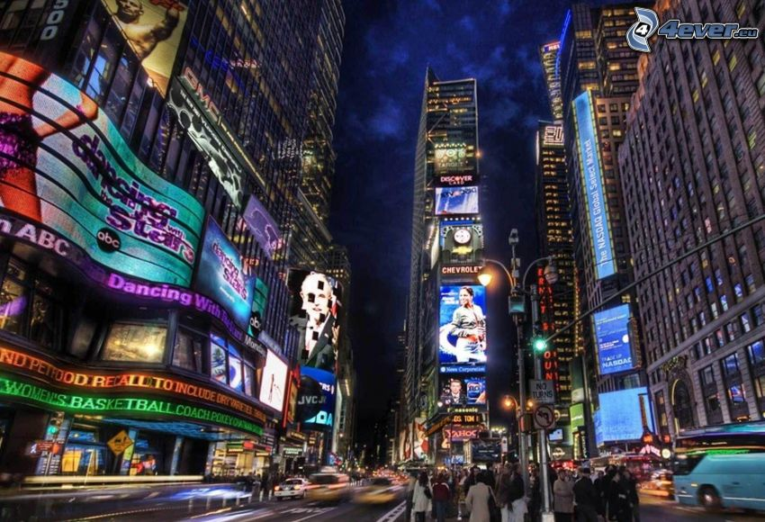 Times Square, New York, ciudad de noche, calle
