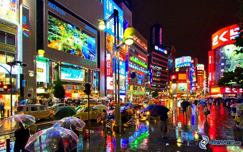 Tokio, ciudad de noche, luces