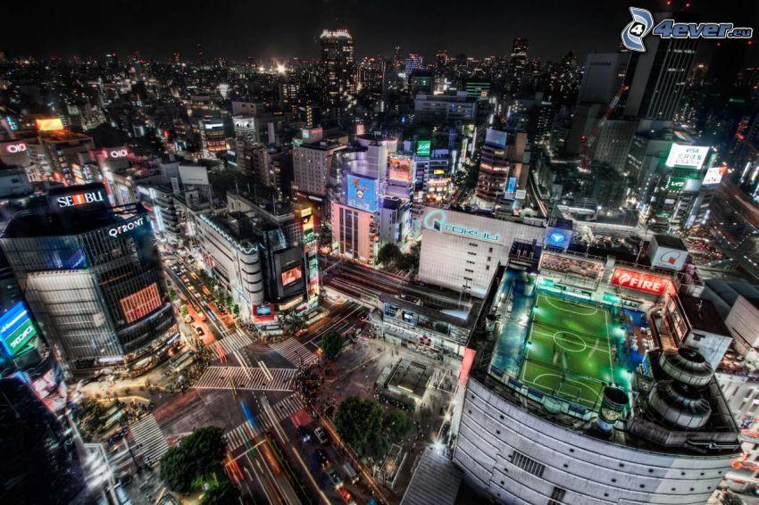 Tokio, estadio, ciudad de noche