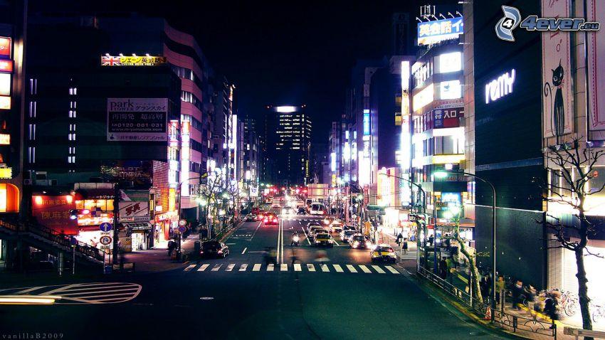 Tokio, Japón, ciudad de noche, calle