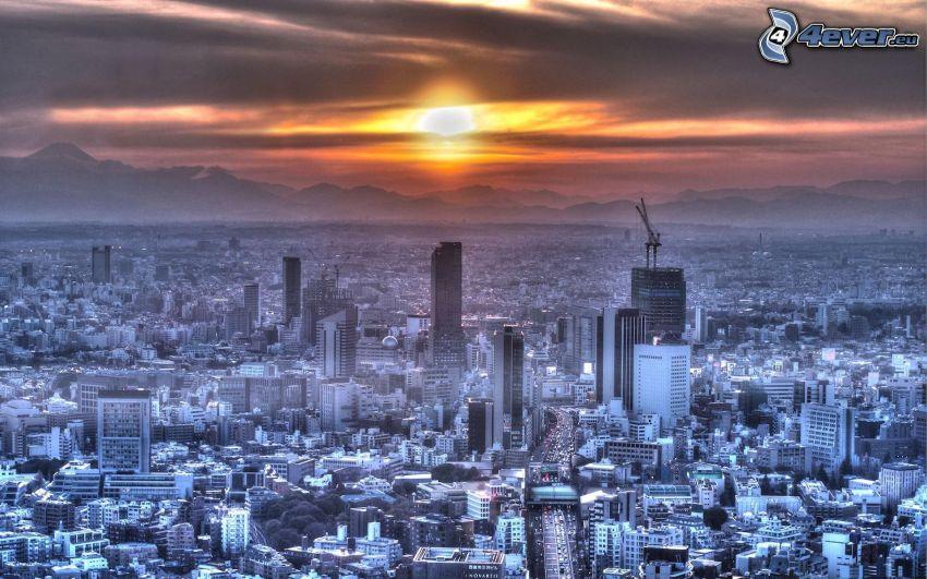 Tokio, Japón, puesta de sol sobre la ciudad, vistas a la ciudad, rascacielos
