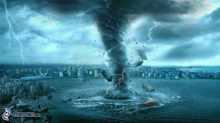 tornado, ciudad, mar, relámpago