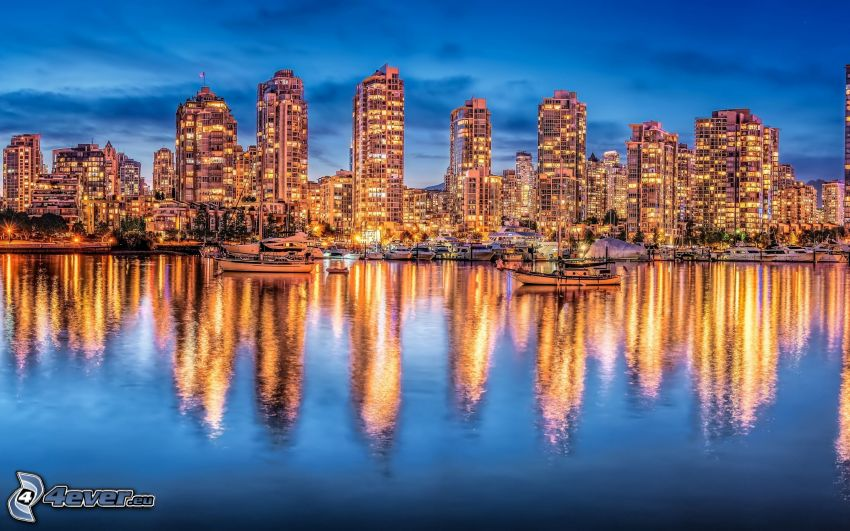 Vancouver, Columbia, HDR, río, reflejo