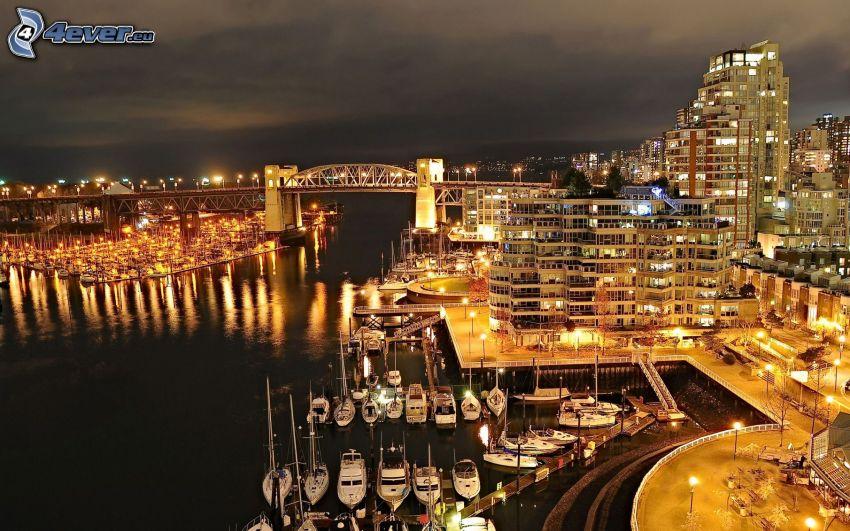 Vancouver, marina, río, ciudad de noche, edificios, puente, iluminación