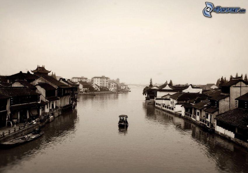 Venecia, río, casas, barco, blanco y negro