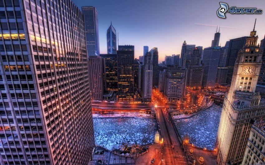 vistas a la ciudad, rascacielos, HDR, río congelado