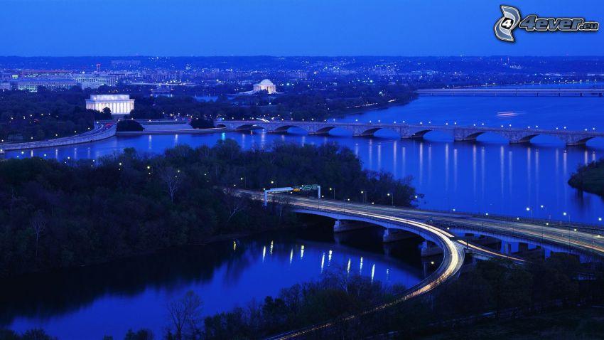 Washington, ciudad de noche, puentes