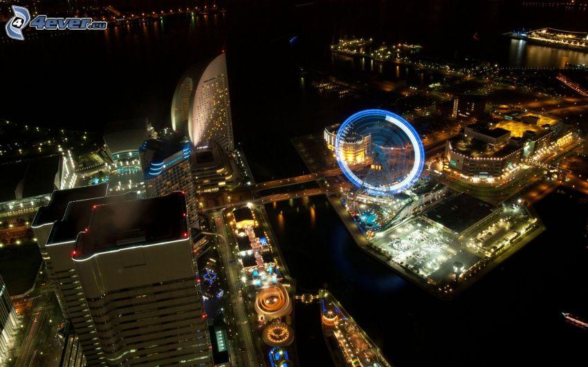 Yokohama, ciudad de noche, rueda de la fortuna