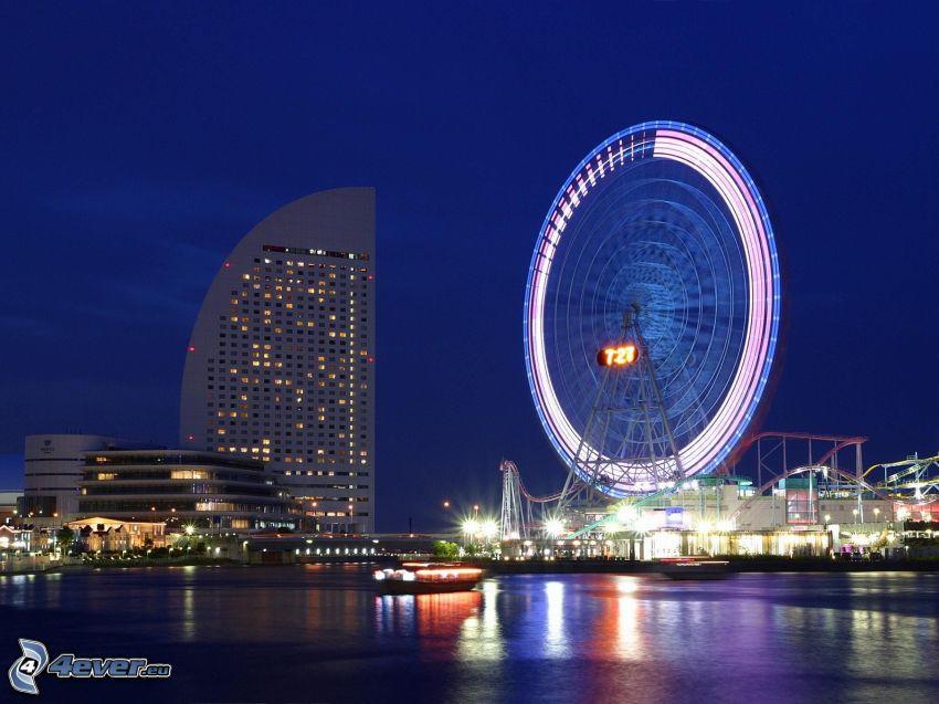 Yokohama, rueda de la fortuna, ciudad de noche
