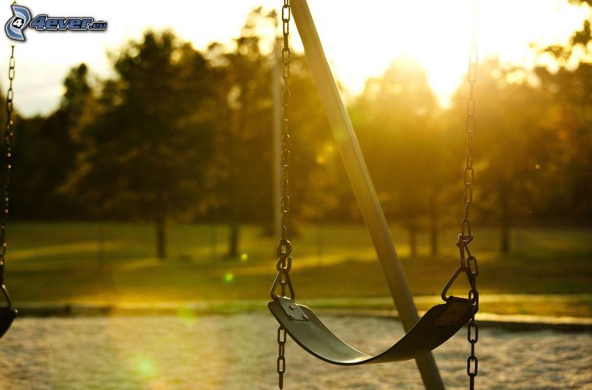 columpio, sol, parque