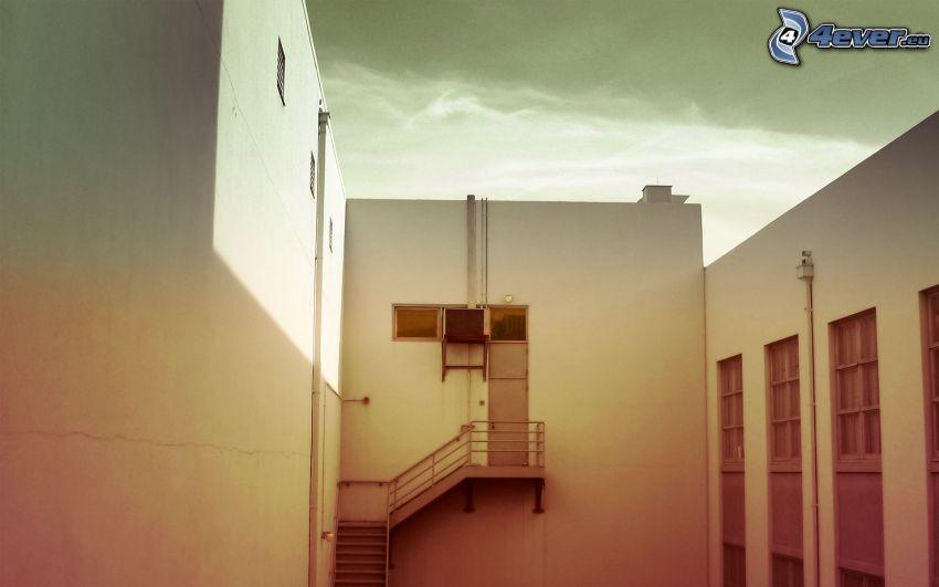 edificio, puerta trasera, salidas de emergencia