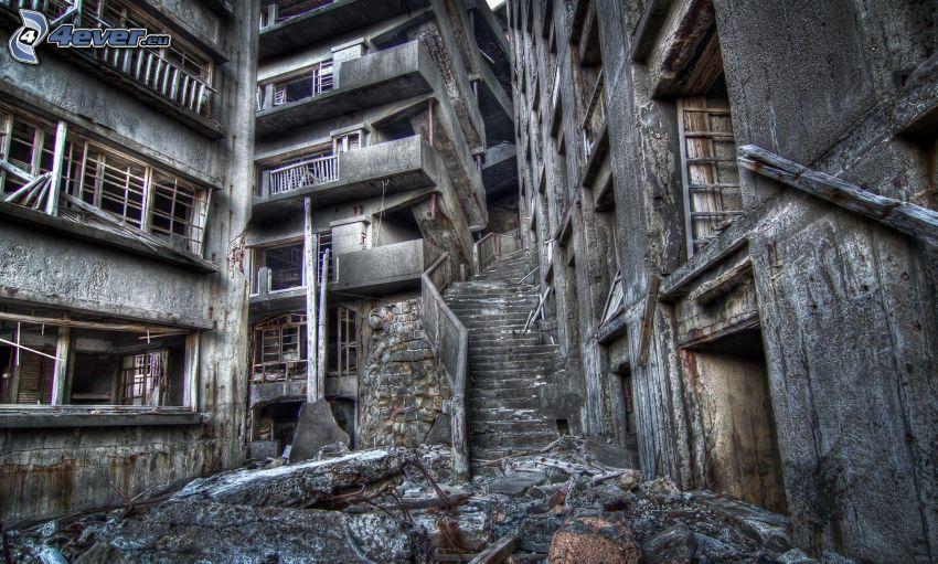 edificio abandonado, antiguo edificio, HDR